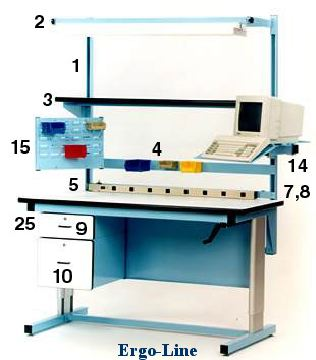 Ergo-Line hand crank adjustable workbench