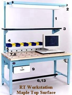 maple surface workbench with ball transfers