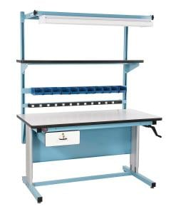 Ergonomic work bench, hand crank adjust bench