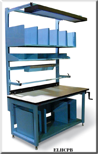 Height adjustable packaging bench